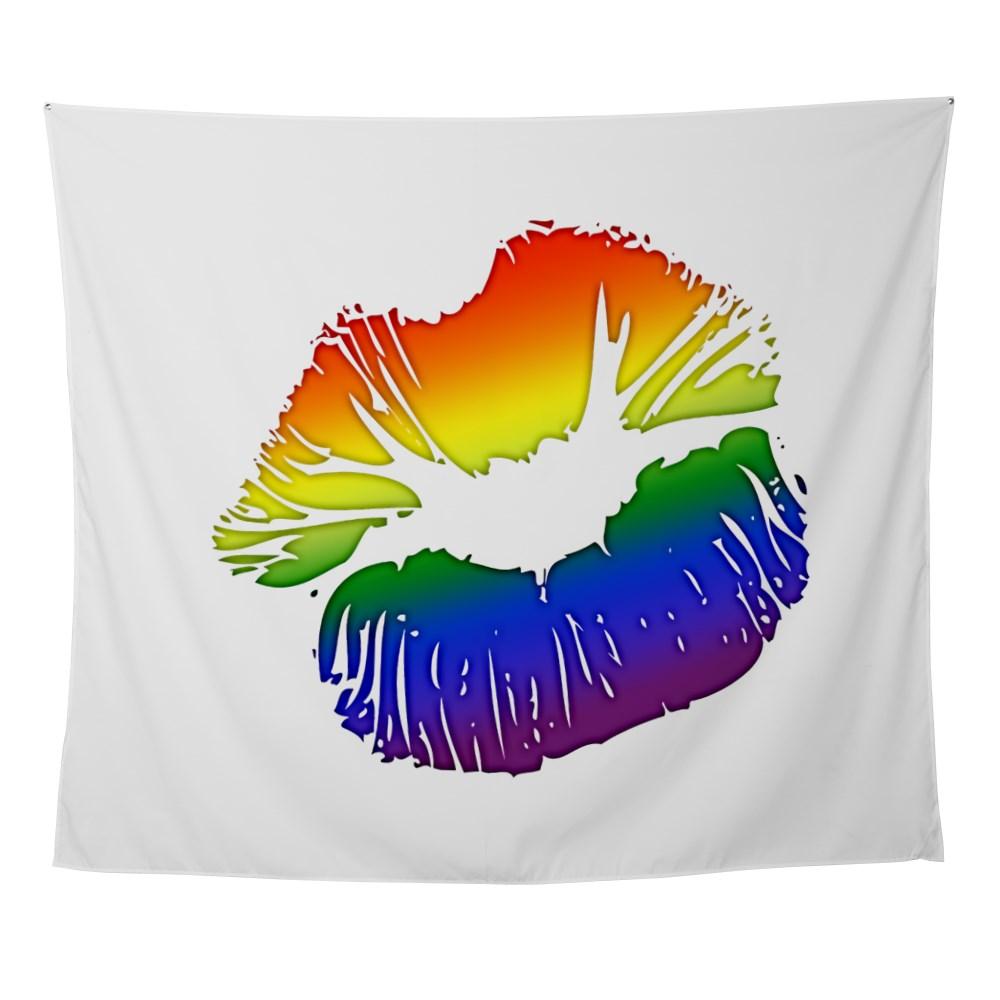 LGBT Love Rainbow Pride Kissing Lips Wall Tapestry