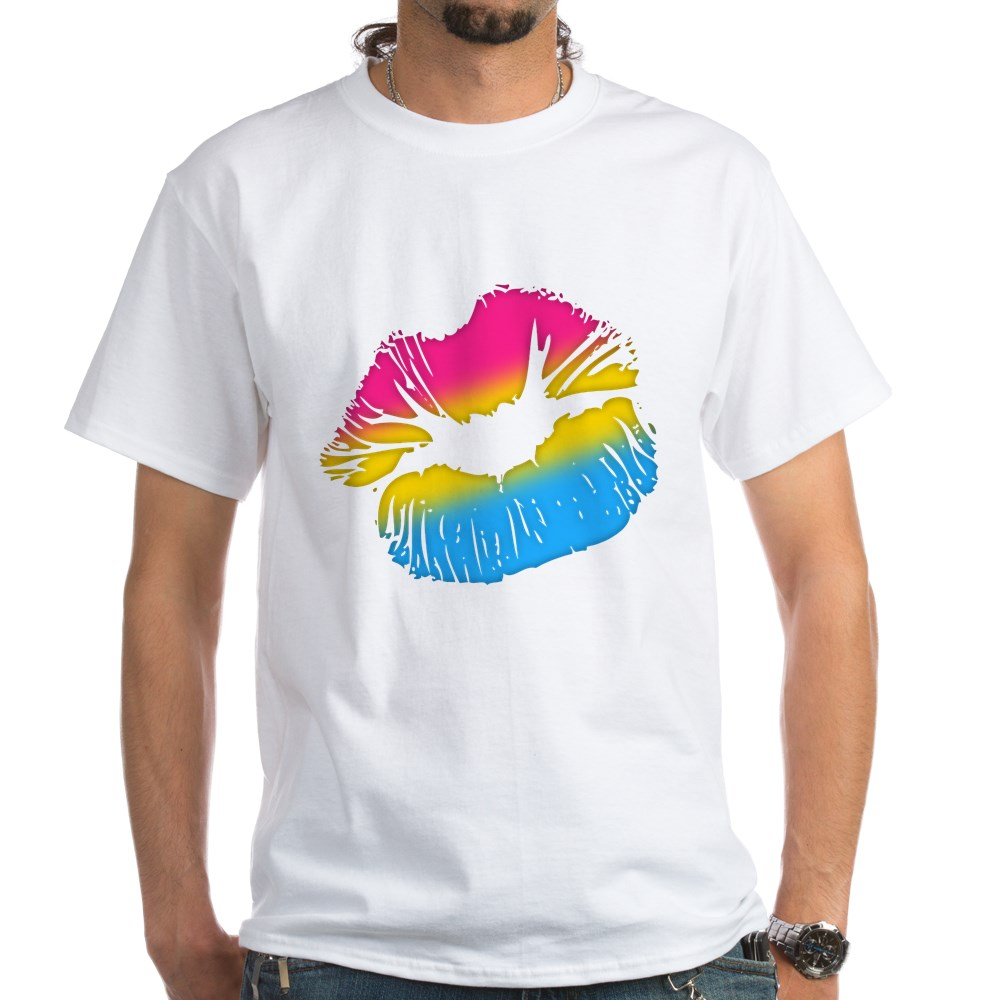 Pansexual Pride Big Kissing Lips White T-Shirt