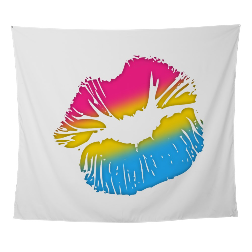 Pansexual Pride Big Kissing Lips Wall Tapestry