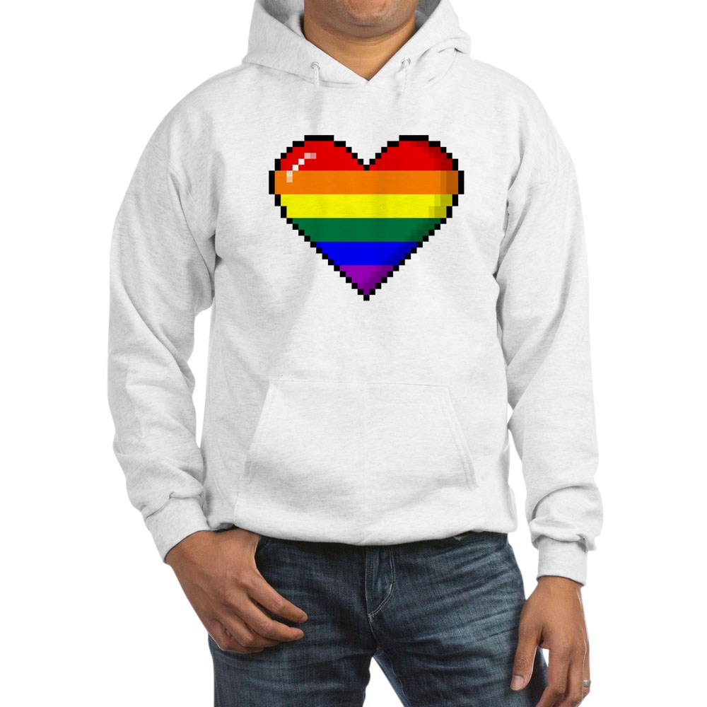 LGBT Rainbow Pride 8-Bit Pixel Heart Hooded Sweatshirt