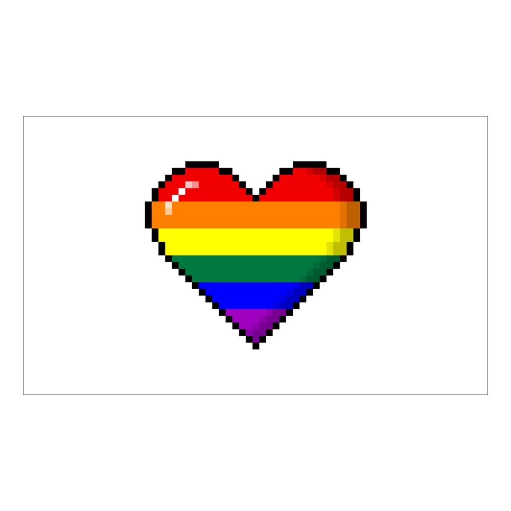 LGBT Rainbow Pride 8-Bit Pixel Heart Rectangle Sticker