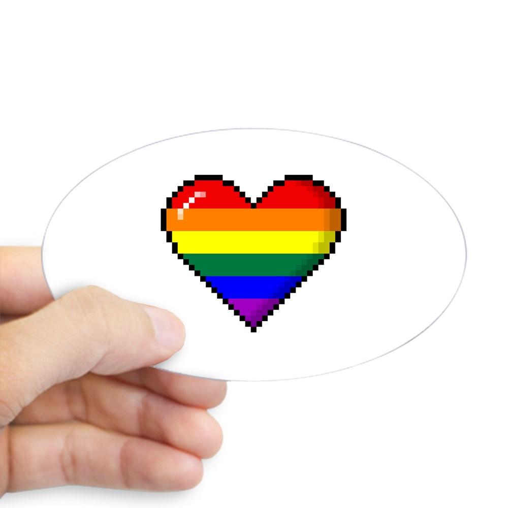 LGBT Rainbow Pride 8-Bit Pixel Heart Oval Sticker