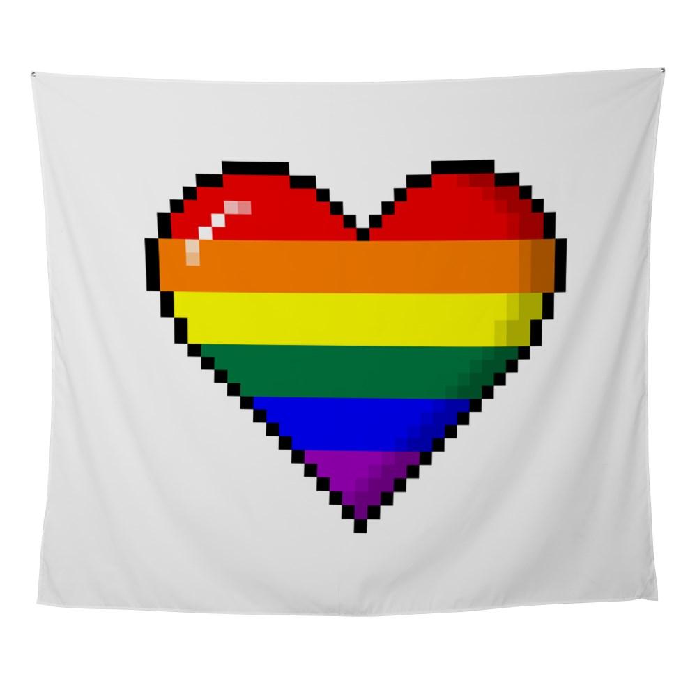 LGBT Rainbow Pride 8-Bit Pixel Heart Wall Tapestry