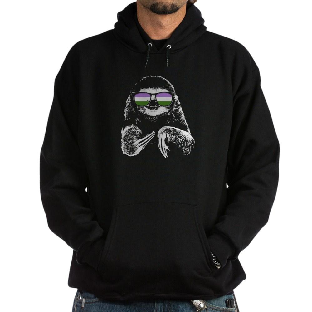 Pride Sloth Genderqueer Flag Sunglasses Dark Hoodie