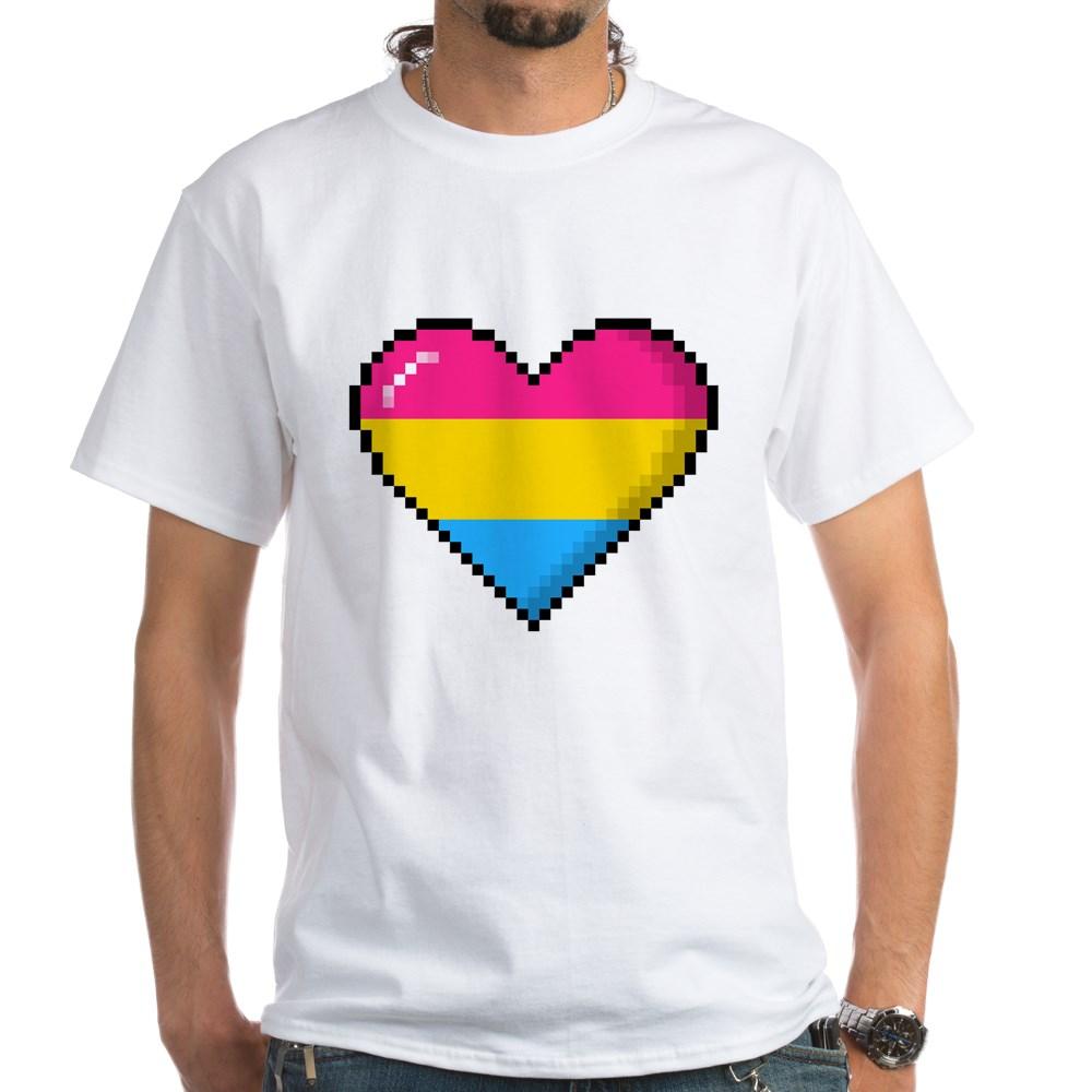 Pansexual Pride 8-Bit Pixel Heart White T-Shirt