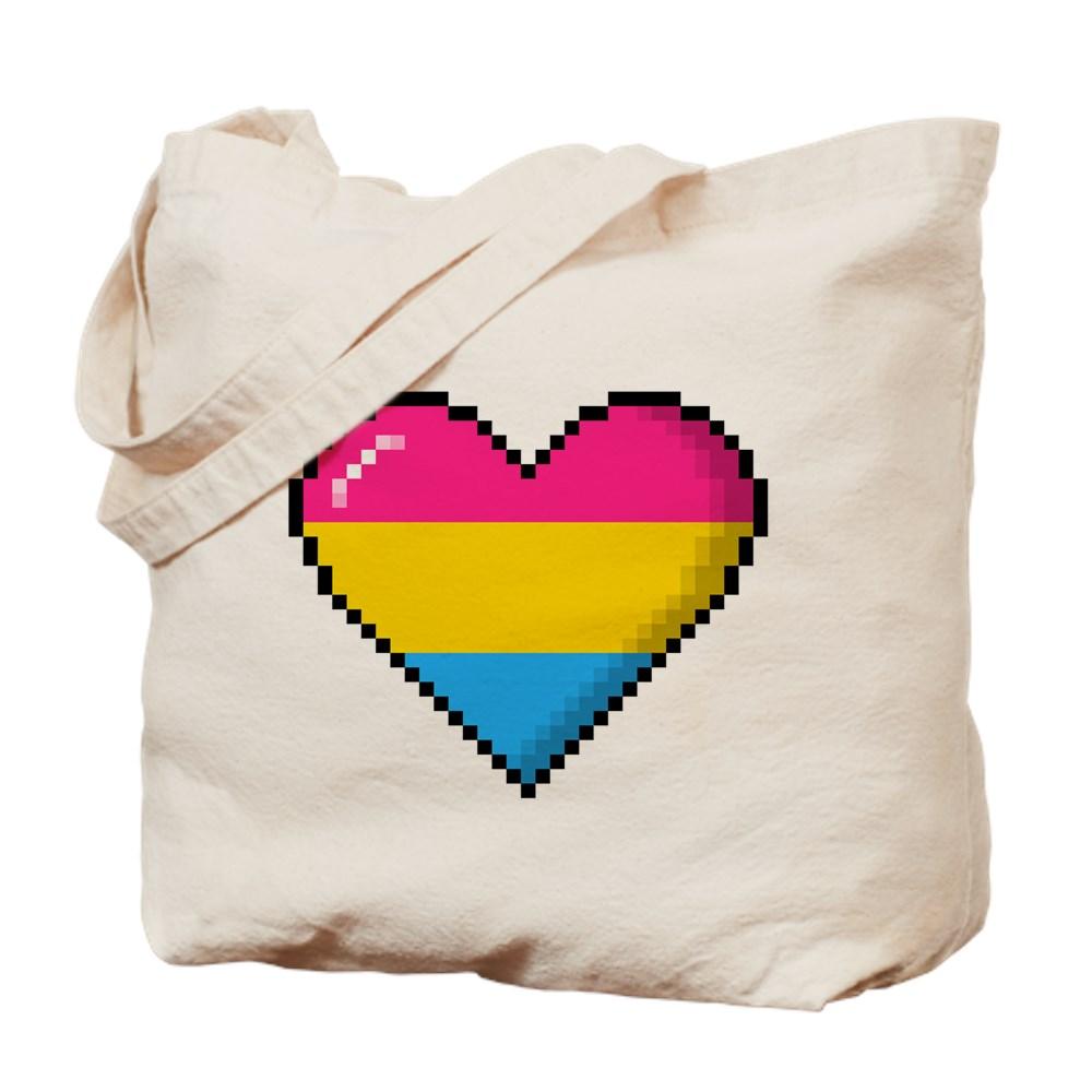 Pansexual Pride 8-Bit Pixel Heart Tote Bag