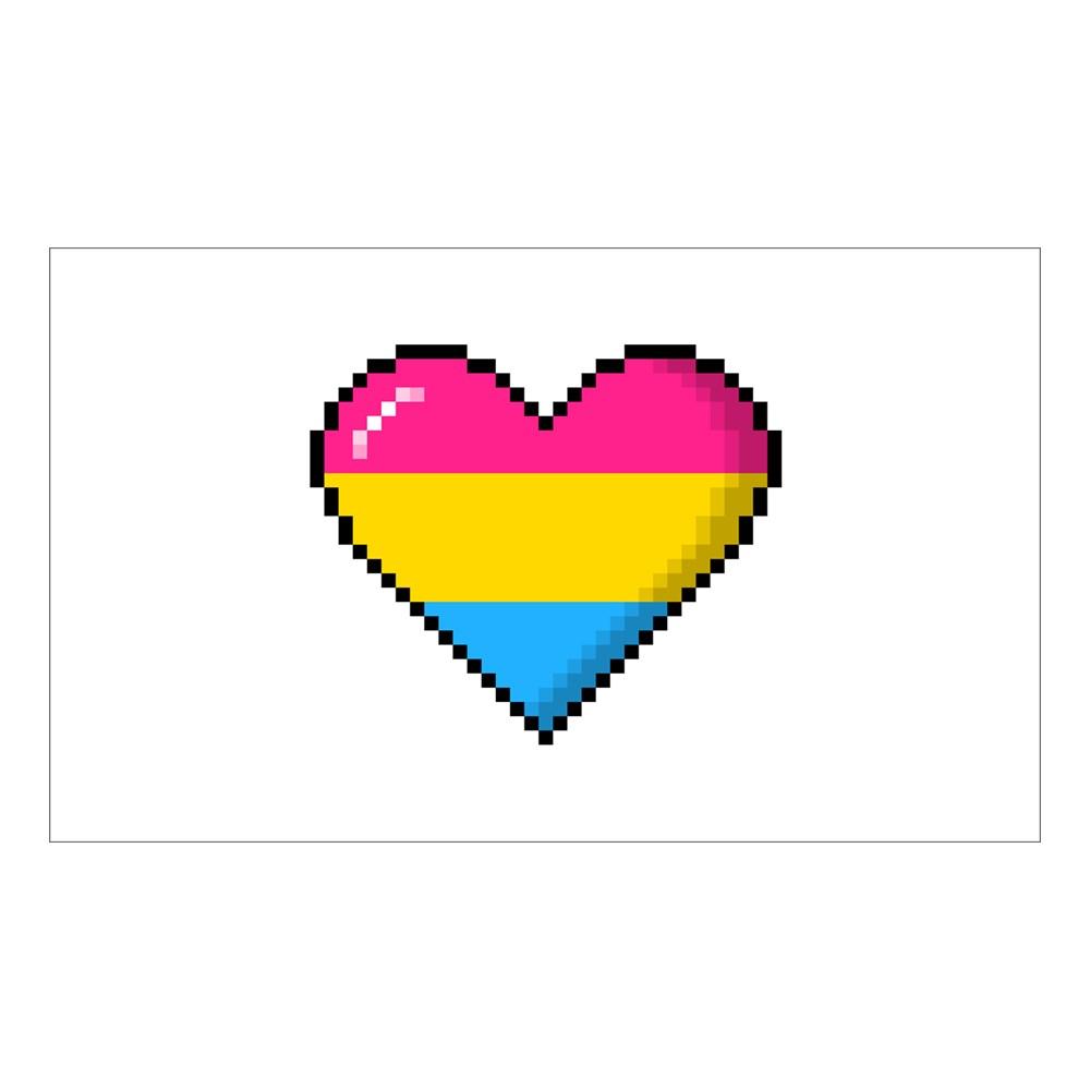Pansexual Pride 8-Bit Pixel Heart Rectangle Sticker