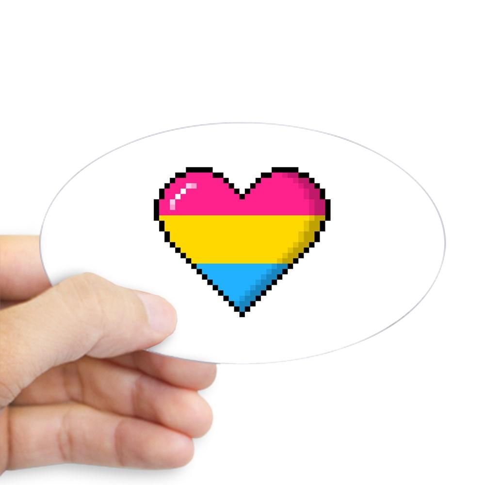 Pansexual Pride 8-Bit Pixel Heart Oval Sticker