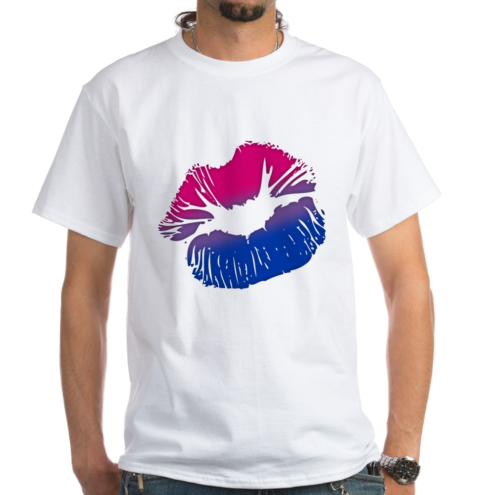 Bisexual Pride Big Kissing Lips White T-Shirt