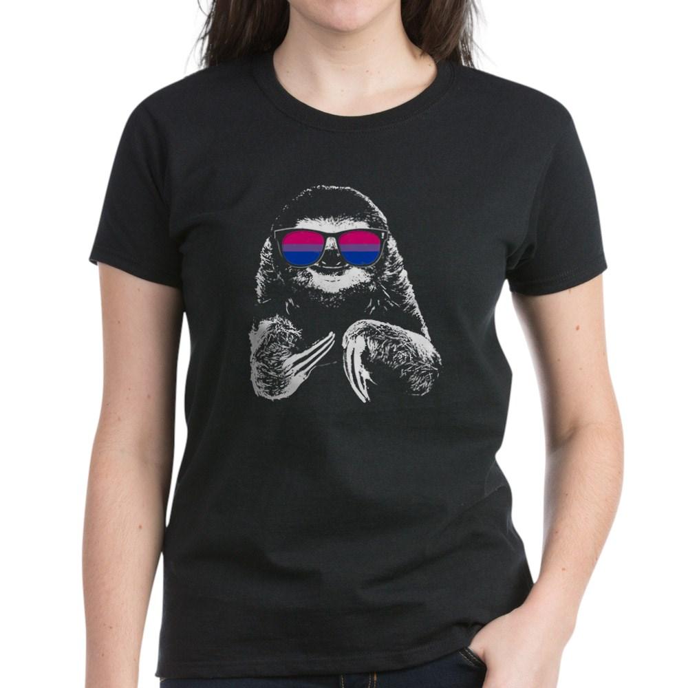 Pride Sloth Bisexual Flag Sunglasses Women's Dark T-Shirt