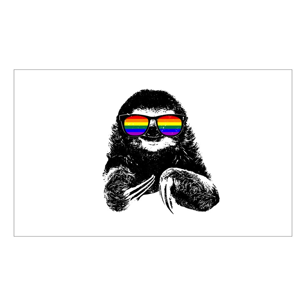 LGBT Pride Sloth Rainbow Flag Sunglasses Rectangle Sticker