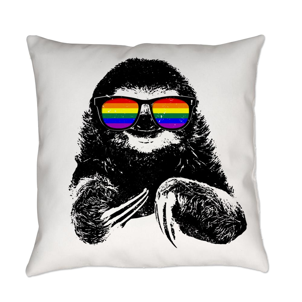 LGBT Pride Sloth Rainbow Flag Sunglasses Everyday Pillow