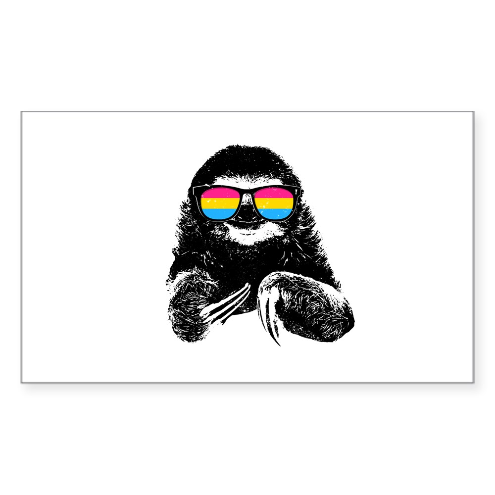 Pride Sloth Pansexual Flag Sunglasses Rectangle Sticker