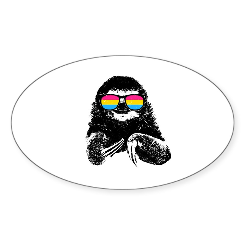 Pride Sloth Pansexual Flag Sunglasses Oval Sticker