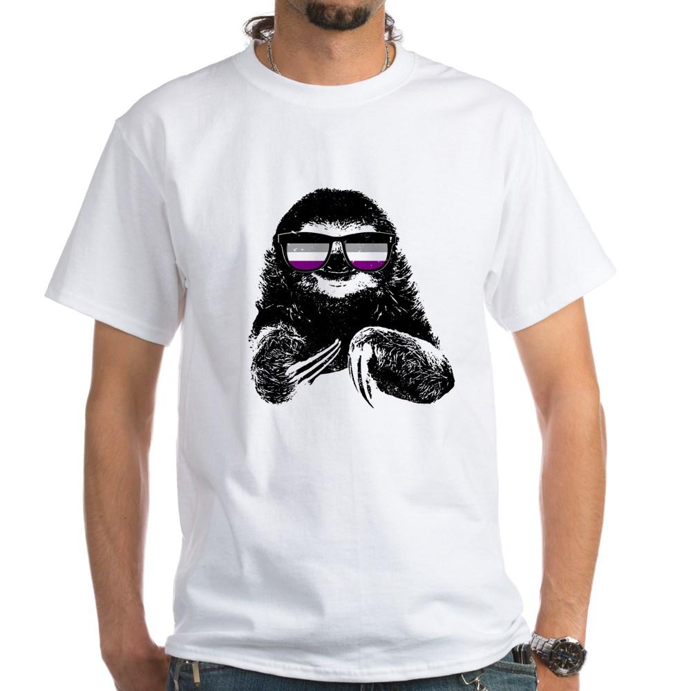 Pride Sloth Asexual Flag Sunglasses White T-Shirt