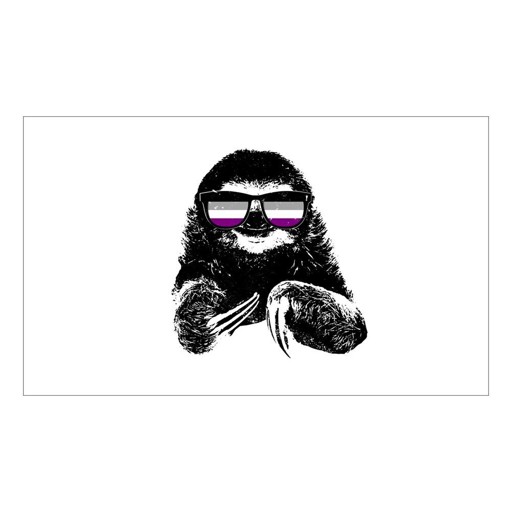 Pride Sloth Asexual Flag Sunglasses Rectangle Sticker