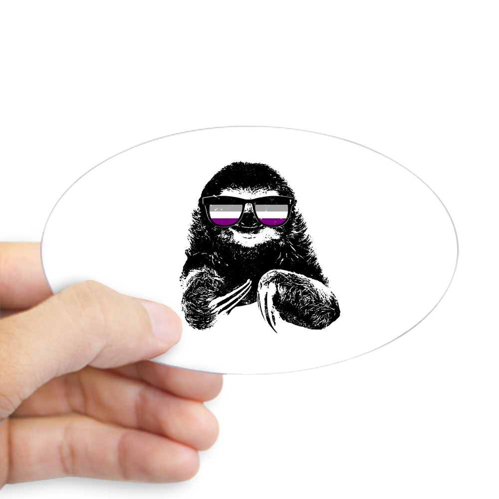 Pride Sloth Asexual Flag Sunglasses Oval Sticker