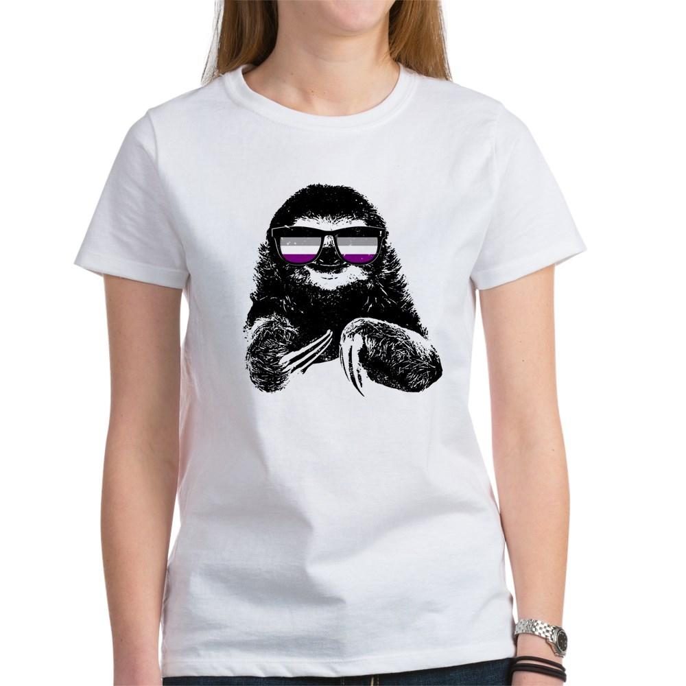Pride Sloth Asexual Flag Sunglasses Women's T-Shirt