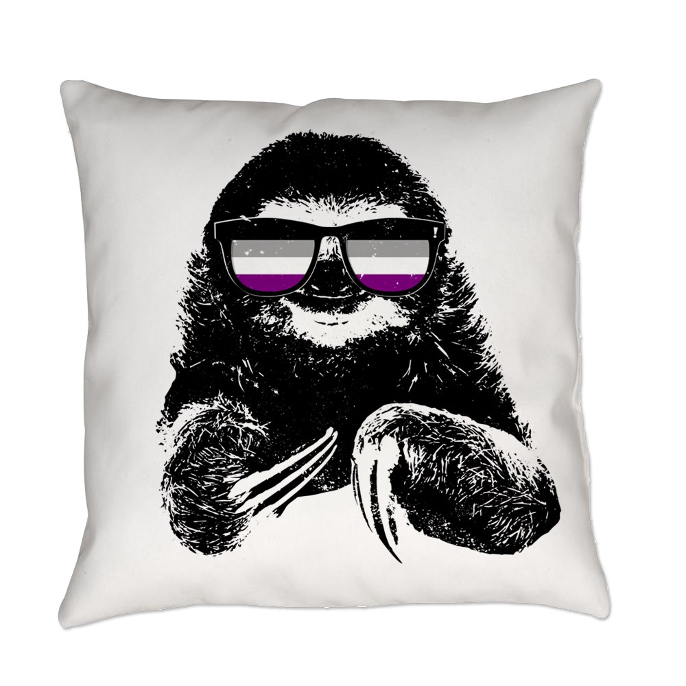 Pride Sloth Asexual Flag Sunglasses Everyday Pillow