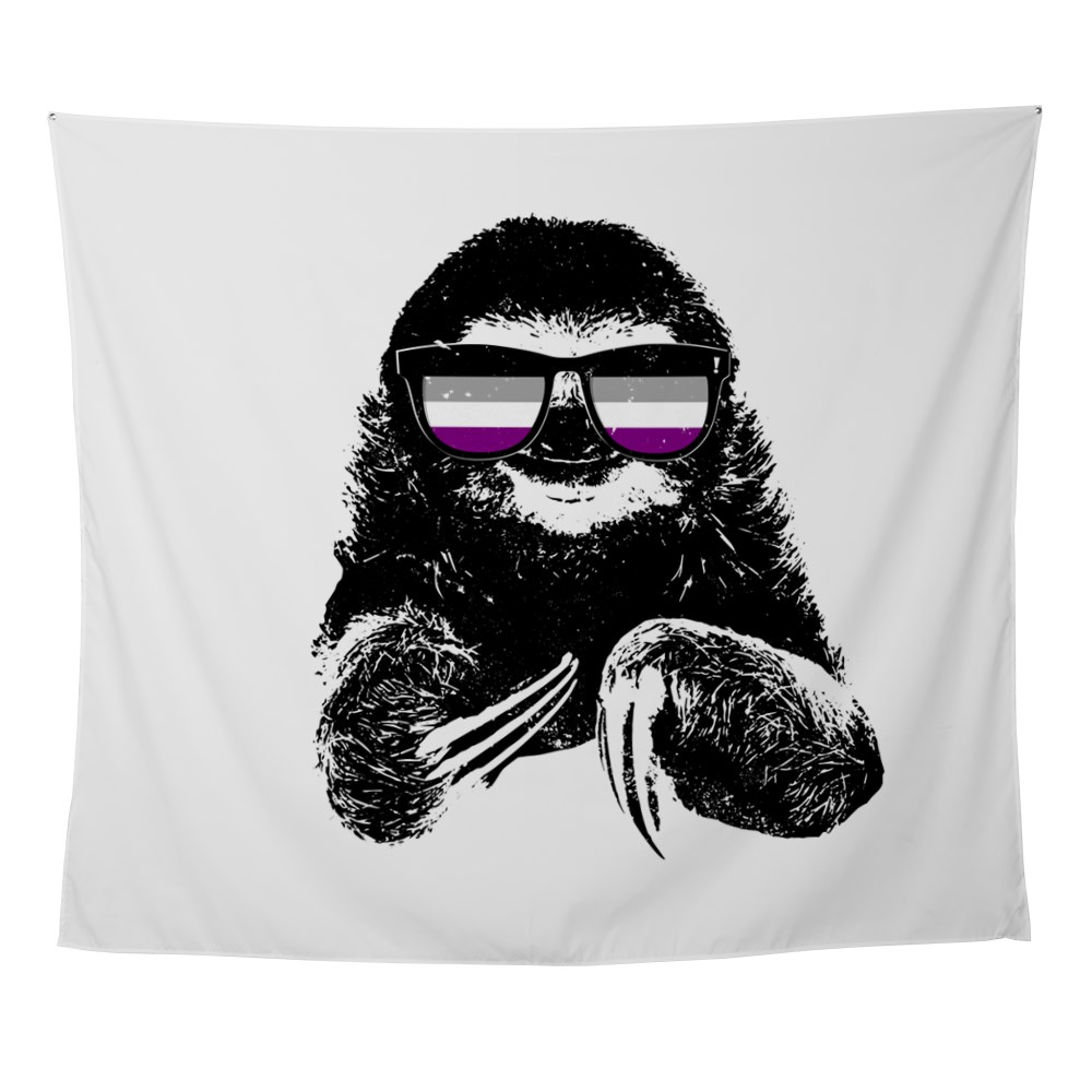 Pride Sloth Asexual Flag Sunglasses Wall Tapestry
