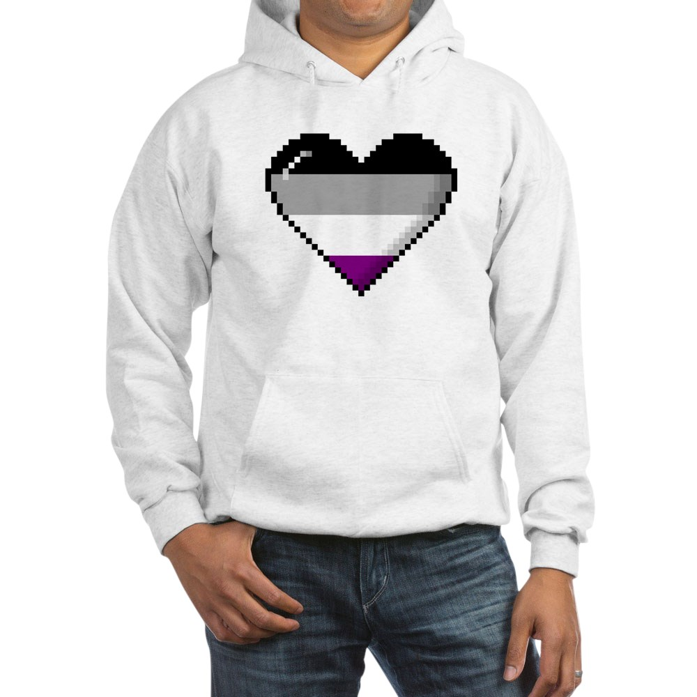 Asexual Pride 8-Bit Pixel Heart Hooded Sweatshirt