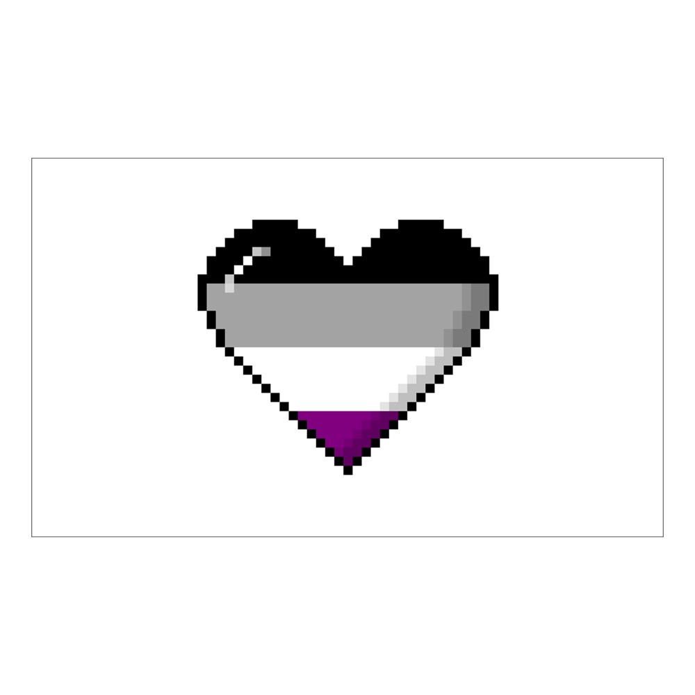 Asexual Pride 8-Bit Pixel Heart Rectangle Sticker