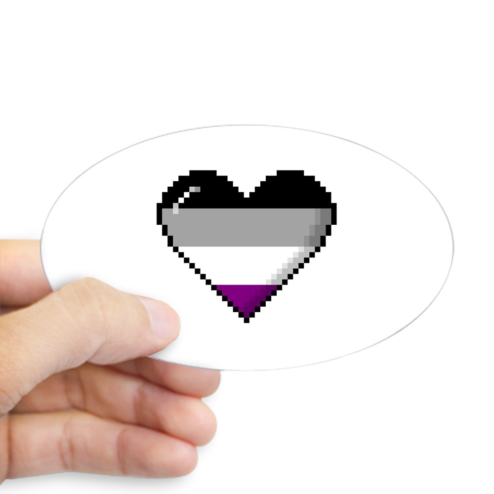 Asexual Pride 8-Bit Pixel Heart Oval Sticker