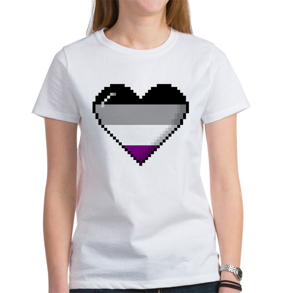 Asexual Pride 8-Bit Pixel Heart Women's T-Shirt