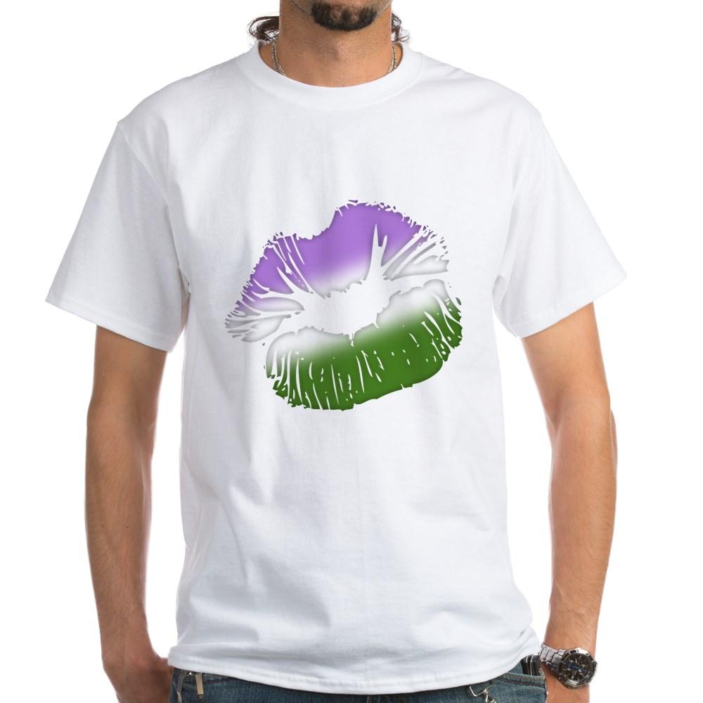 Genderqueer Pride Big Kissing Lips White T-Shirt