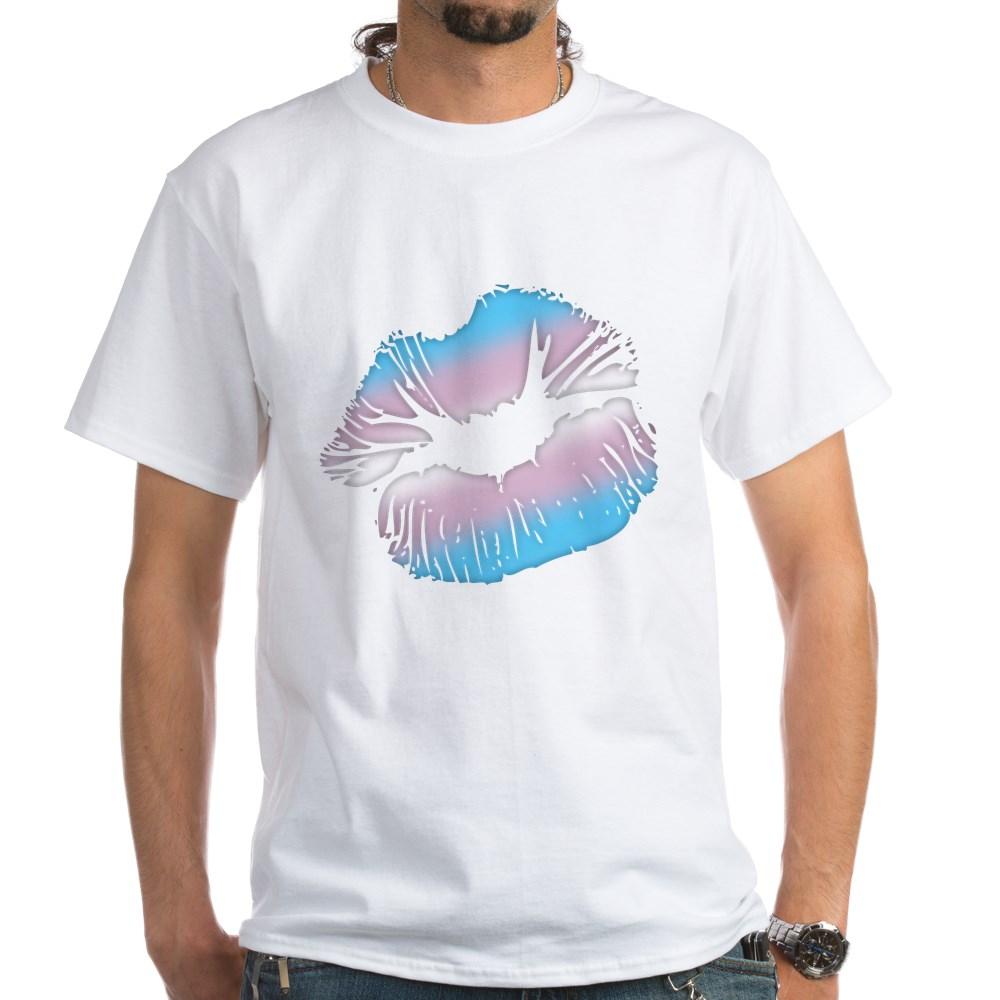 Transgender Pride Big Kissing Lips White T-Shirt