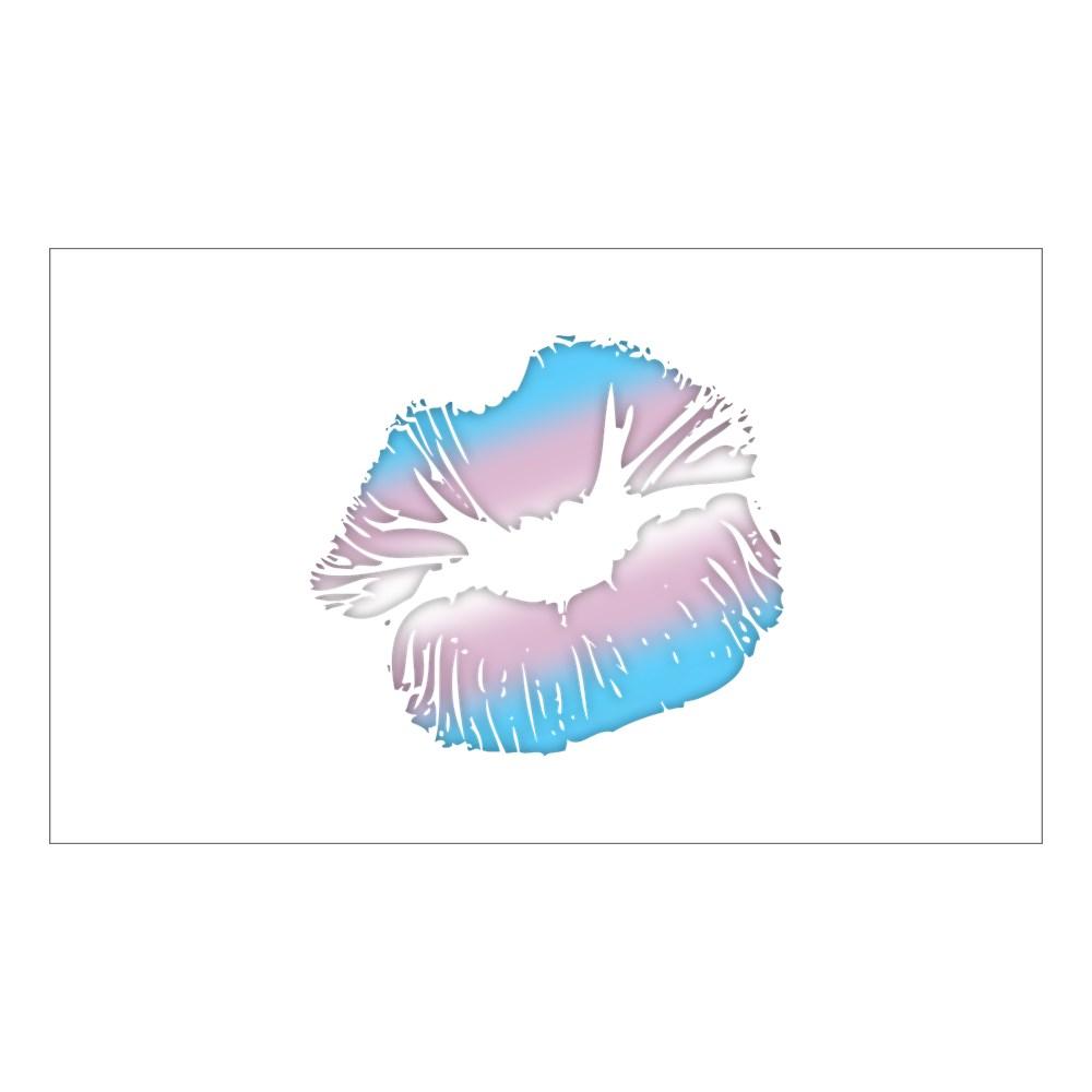 Transgender Pride Big Kissing Lips Rectangle Sticker