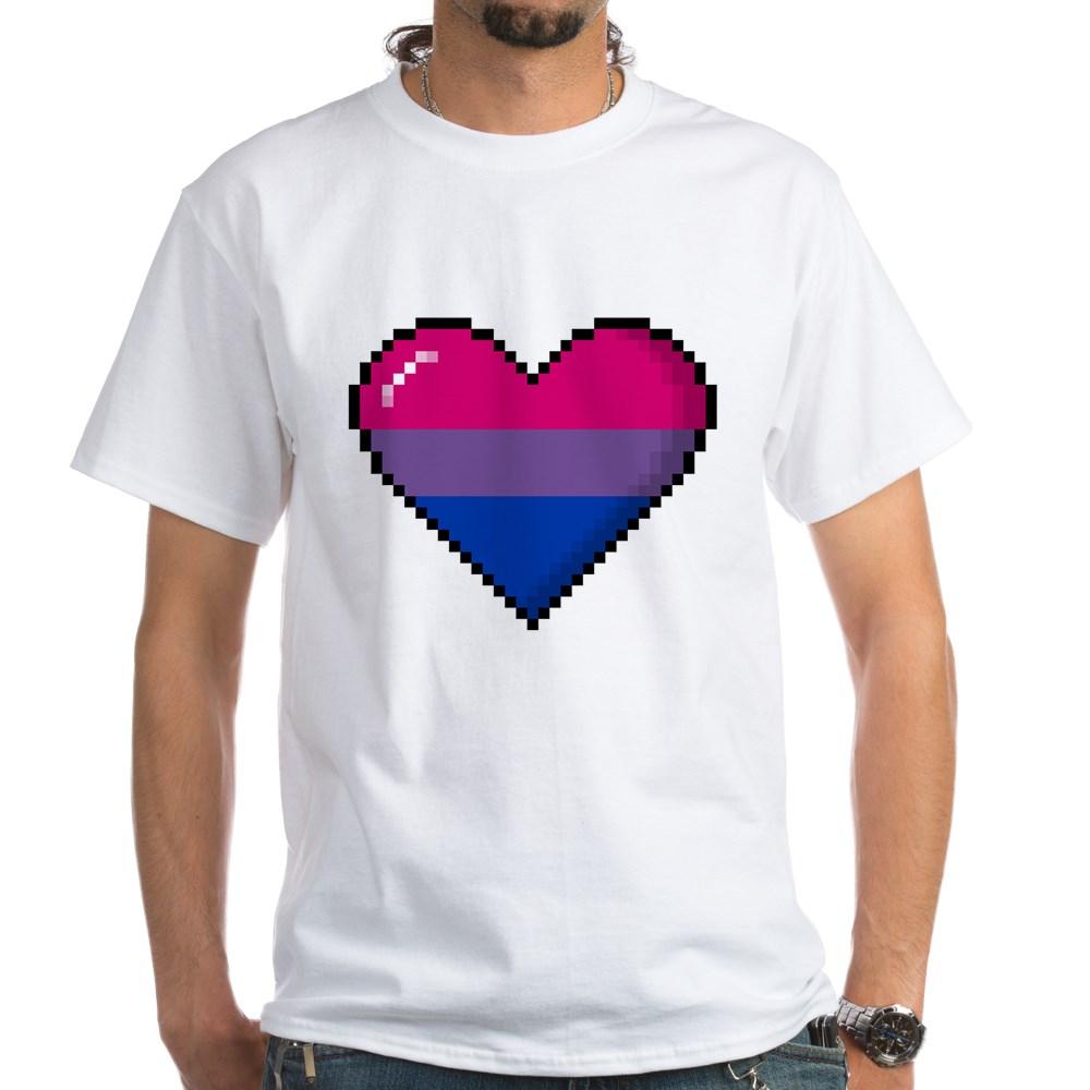 Bisexual Pride 8-Bit Pixel Heart White T-Shirt