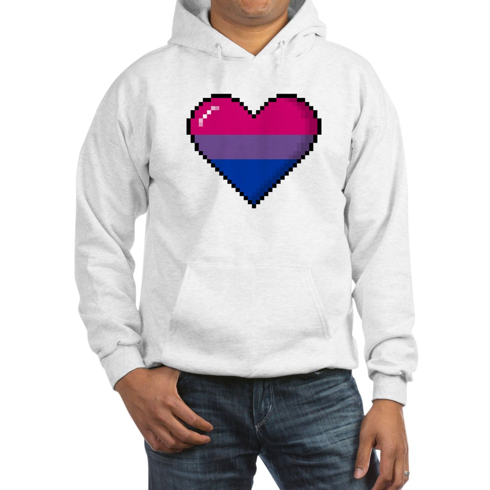 Bisexual Pride 8-Bit Pixel Heart Hooded Sweatshirt