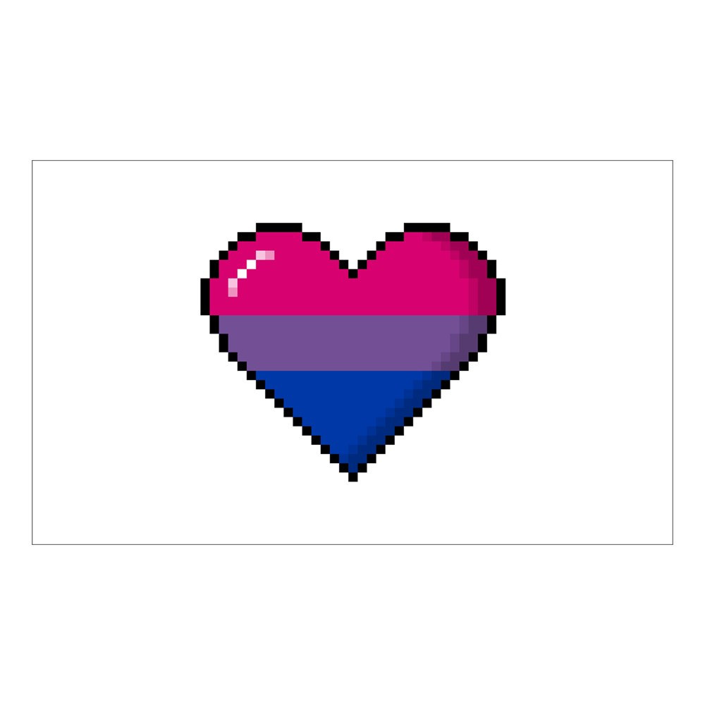 Bisexual Pride 8-Bit Pixel Heart Rectangle Sticker