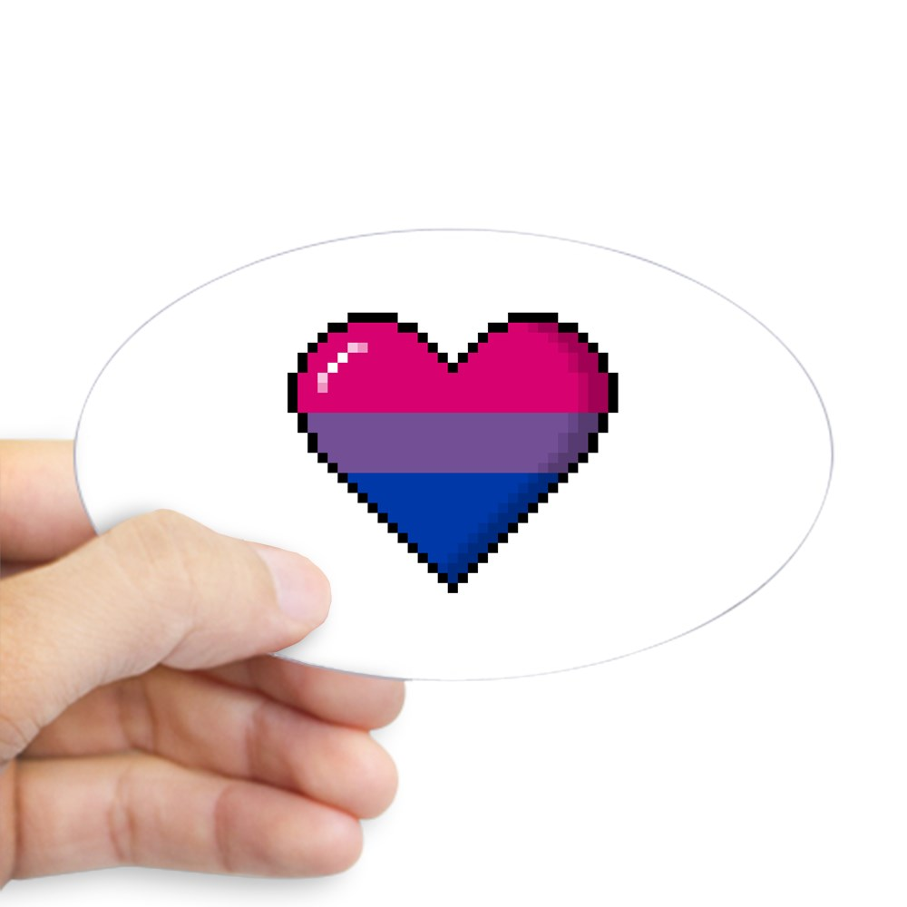 Bisexual Pride 8-Bit Pixel Heart Oval Sticker