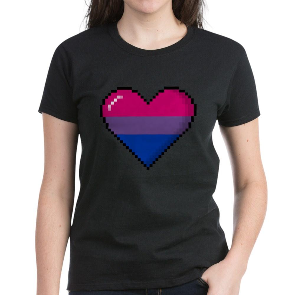 Bisexual Pride 8-Bit Pixel Heart Women's Dark T-Shirt