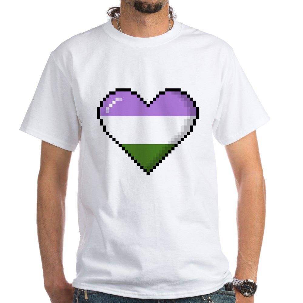 Genderqueer Pride 8-Bit Pixel Heart White T-Shirt