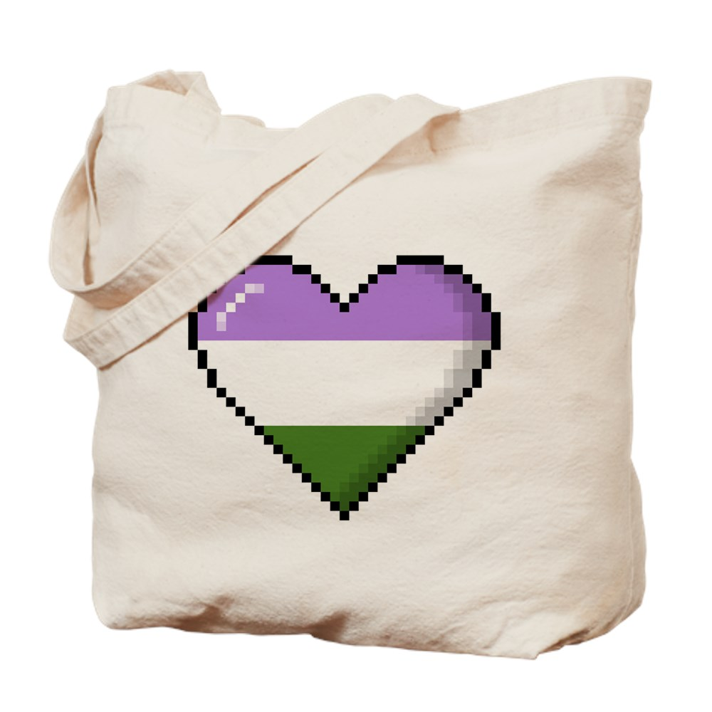 Genderqueer Pride 8-Bit Pixel Heart Tote Bag