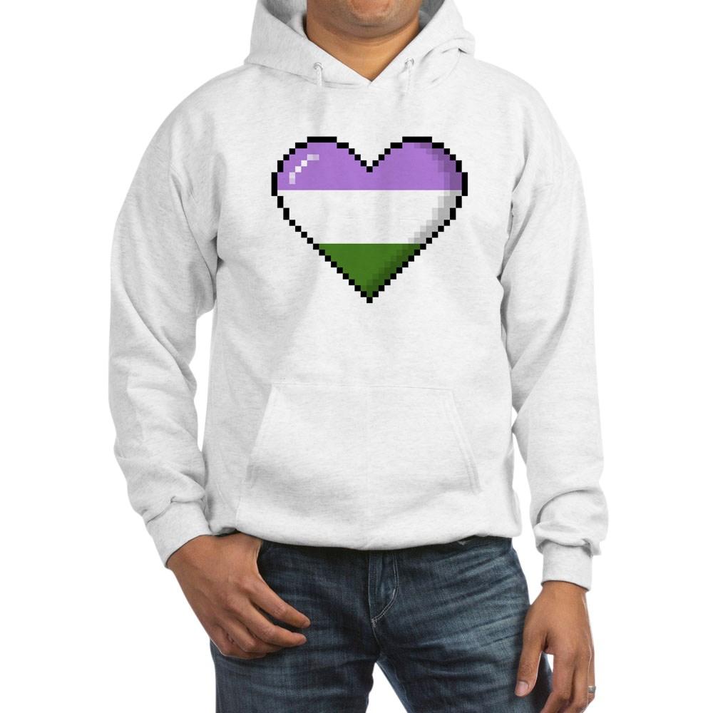 Genderqueer Pride 8-Bit Pixel Heart Hooded Sweatshirt