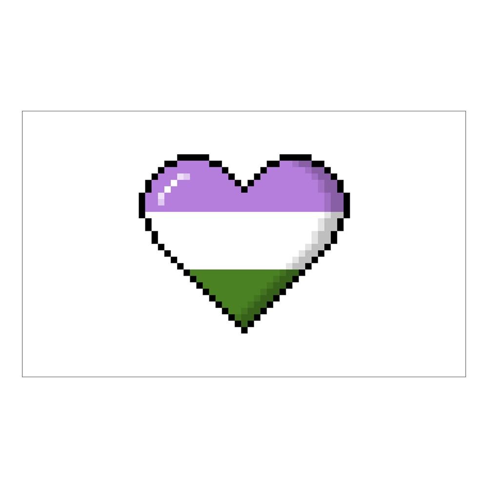 Genderqueer Pride 8-Bit Pixel Heart Rectangle Sticker