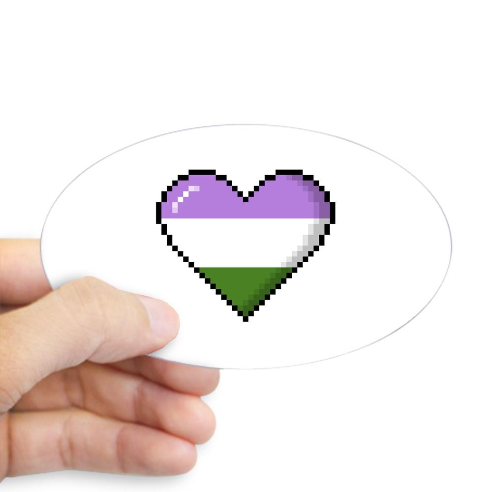 Genderqueer Pride 8-Bit Pixel Heart Oval Sticker
