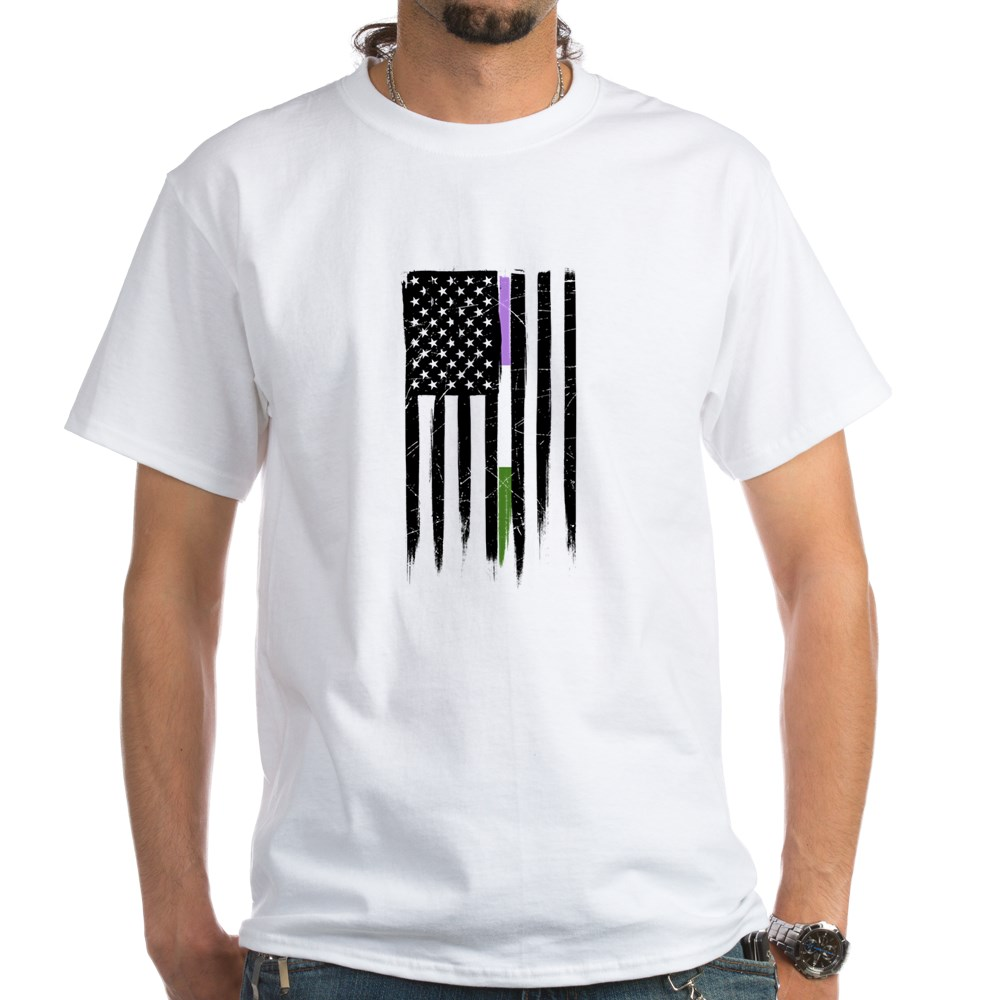 Genderqueer Pride Thin Line American Flag White T-Shirt