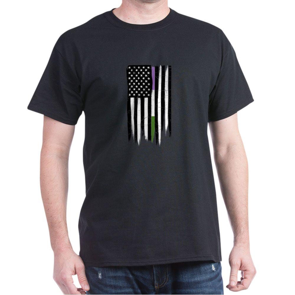 Genderqueer Pride Thin Line American Flag Dark T-Shirt