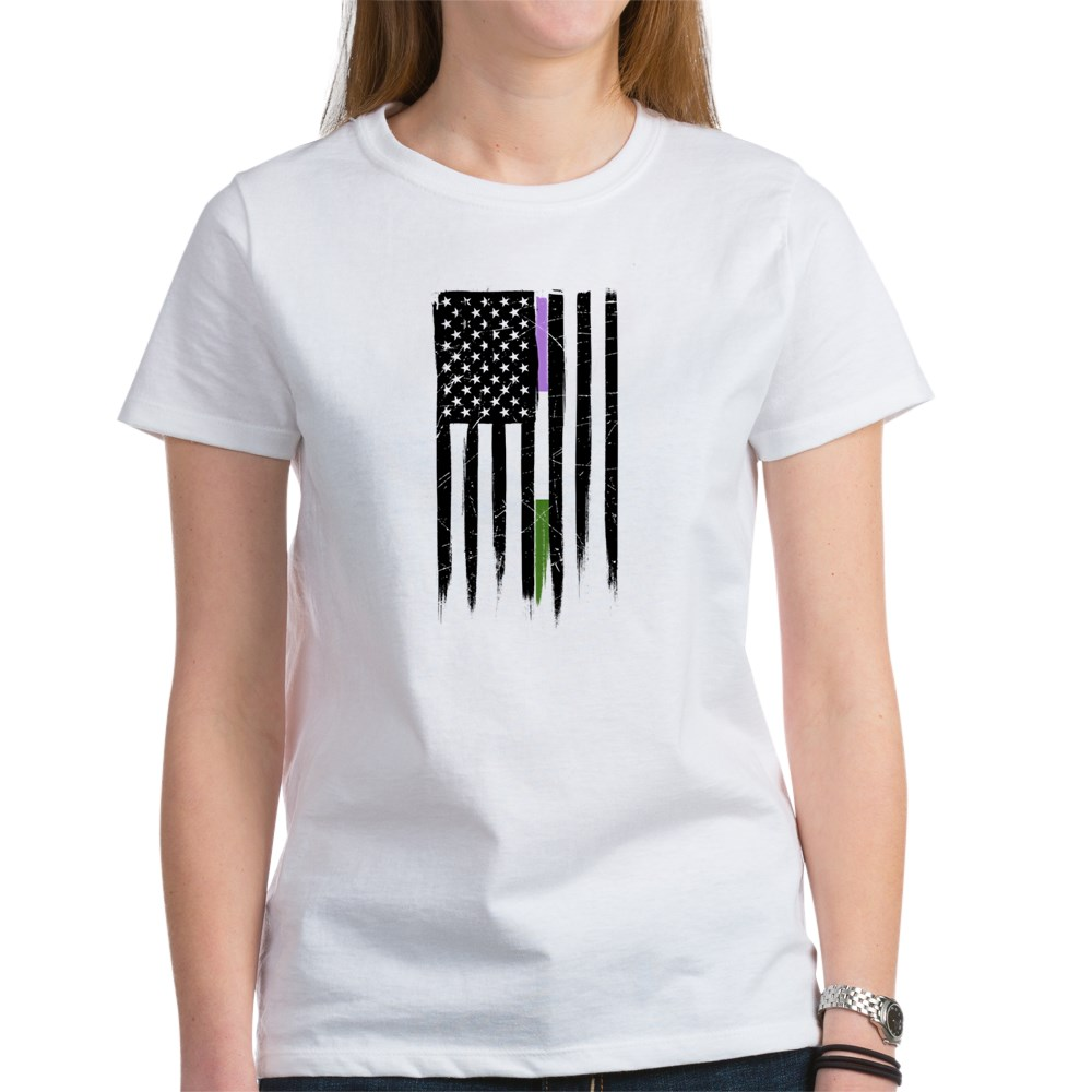 Genderqueer Pride Thin Line American Flag Women's T-Shirt