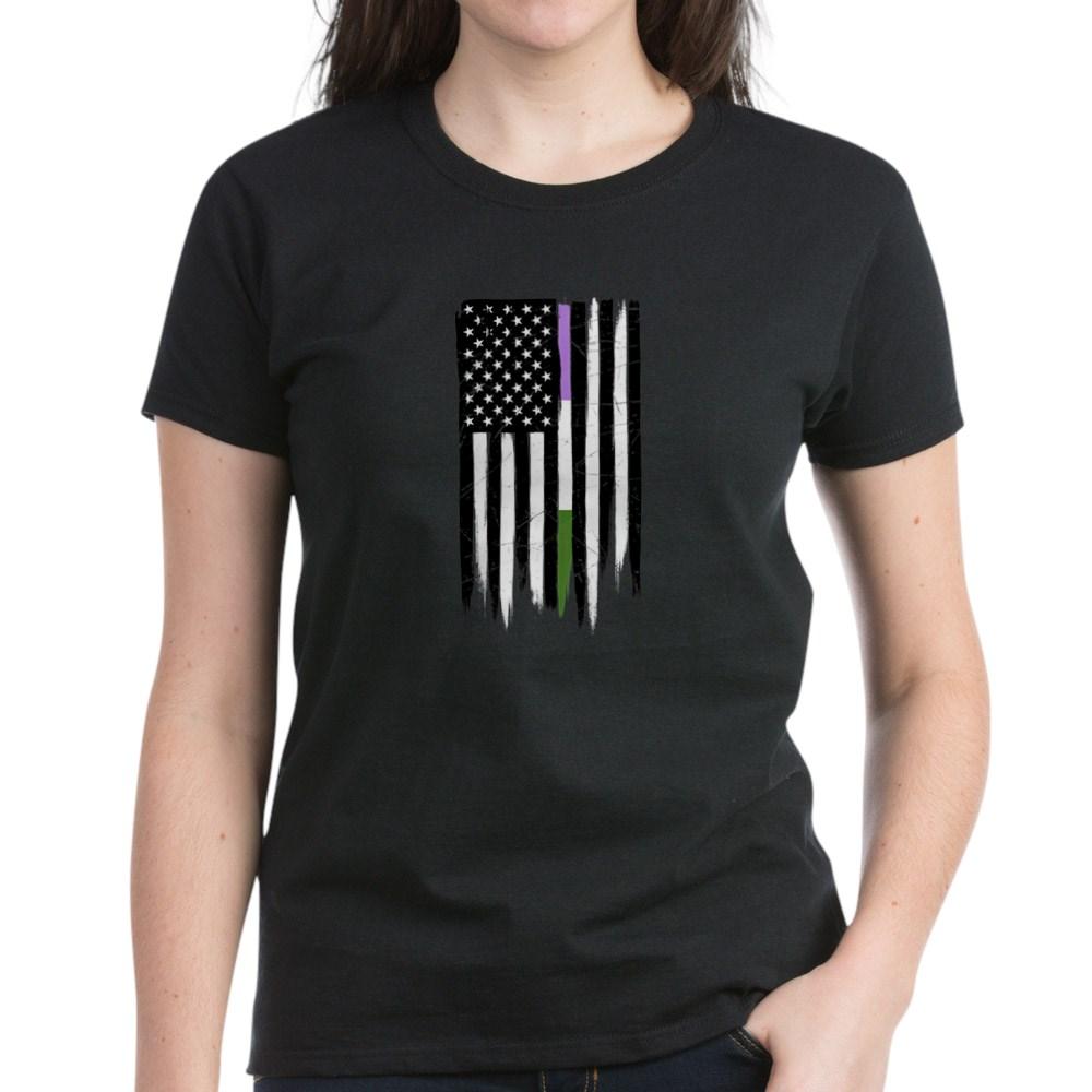 Genderqueer Pride Thin Line American Flag Women's Dark T-Shirt