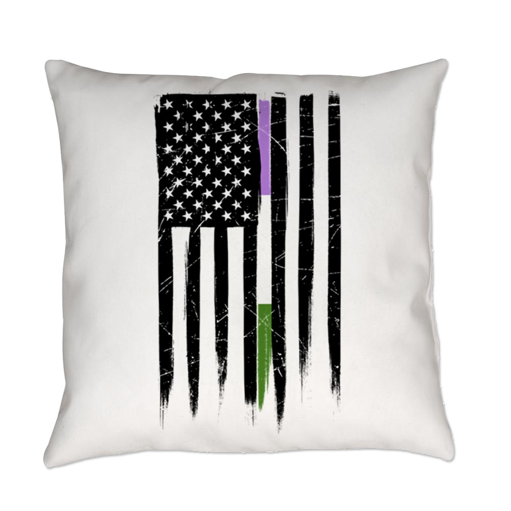 Genderqueer Pride Thin Line American Flag Everyday Pillow