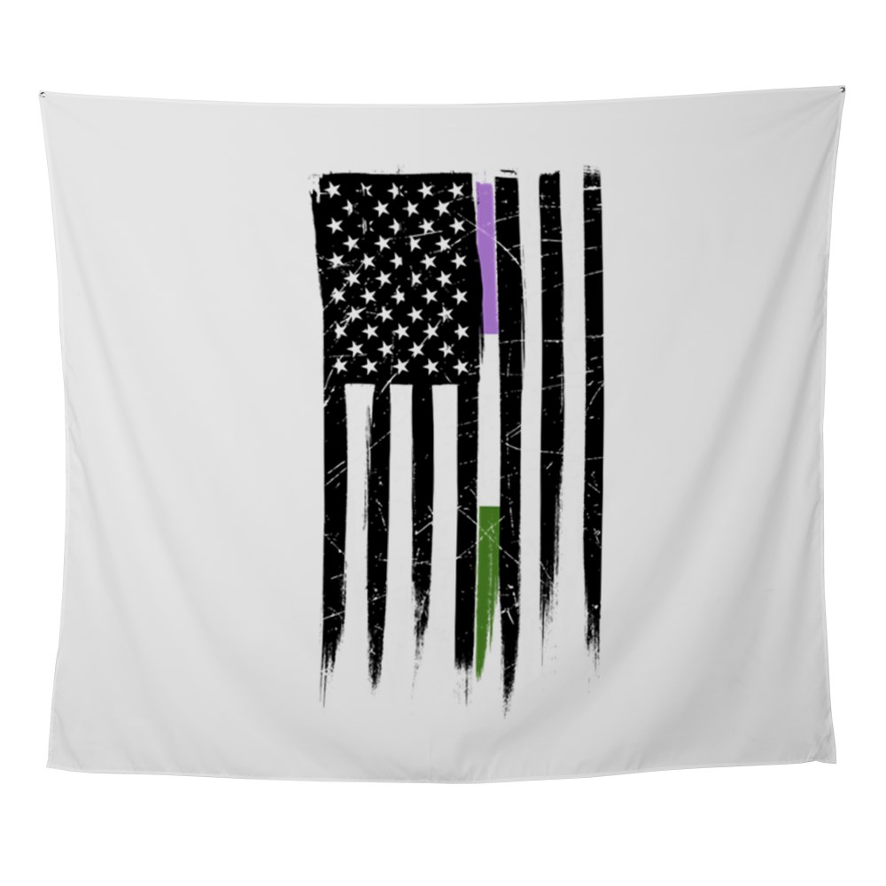 Genderqueer Pride Thin Line American Flag Wall Tapestry