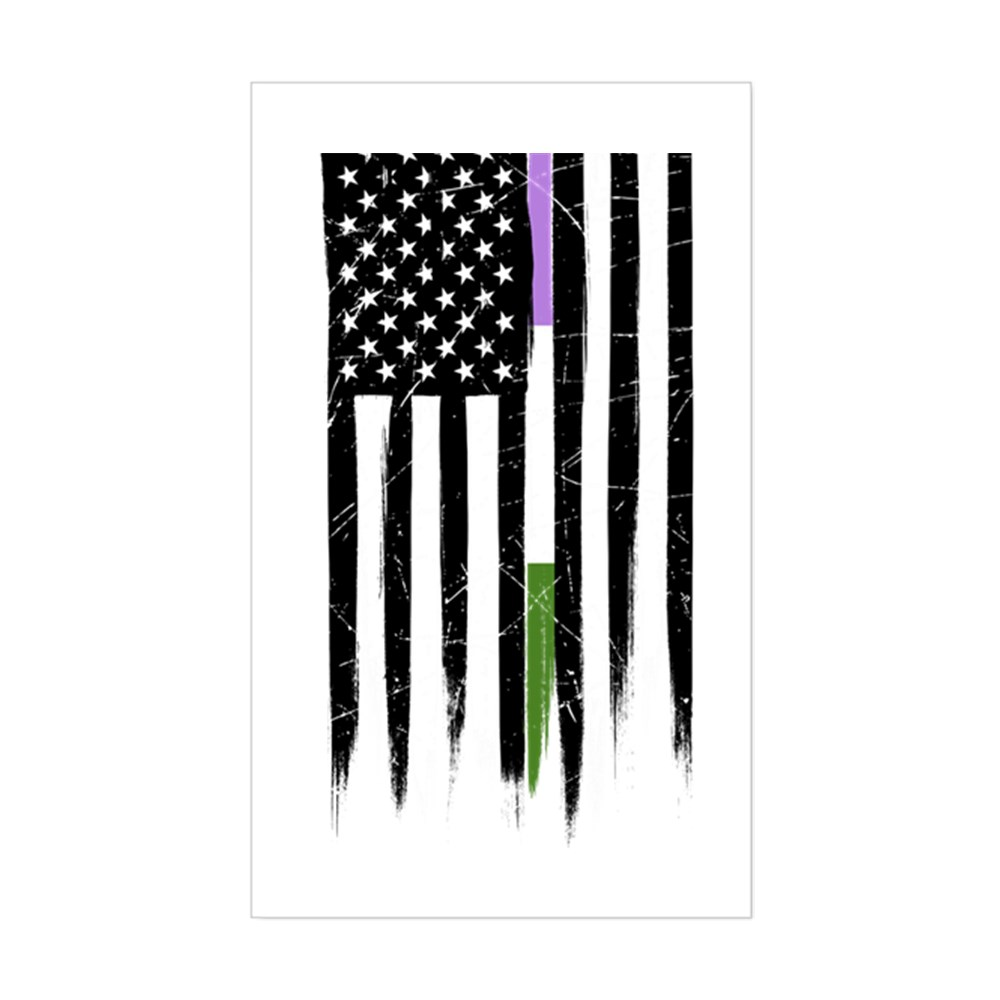 Genderqueer Pride Thin Line American Flag Rectangle Sticker