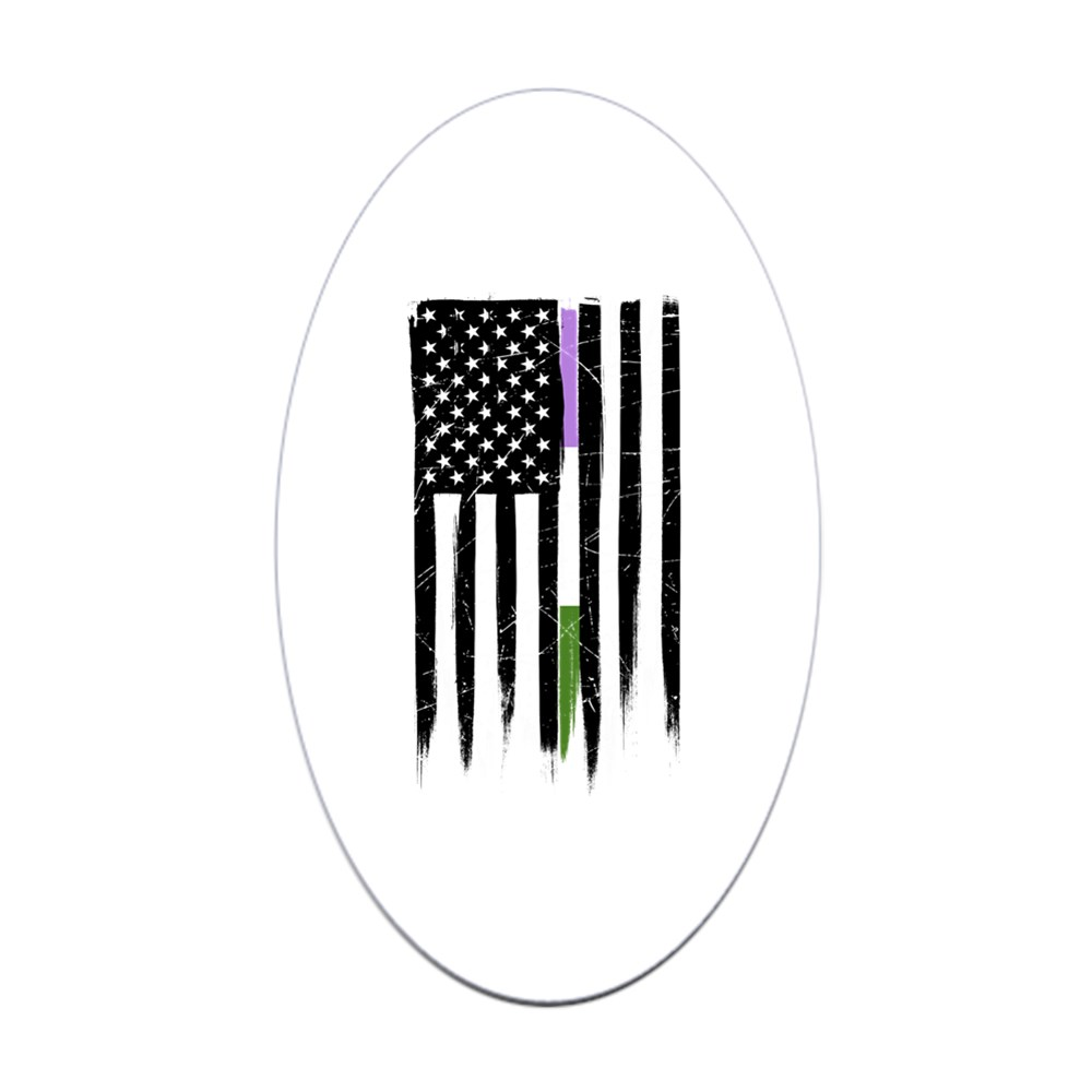 Genderqueer Pride Thin Line American Flag Oval Sticker