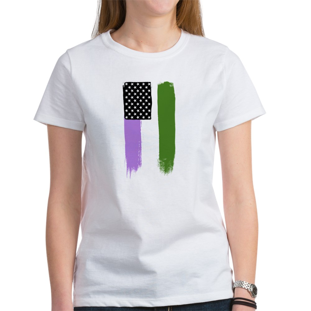 Genderqueer Pride Flag Stars and Stripes Flag Women's T-Shirt
